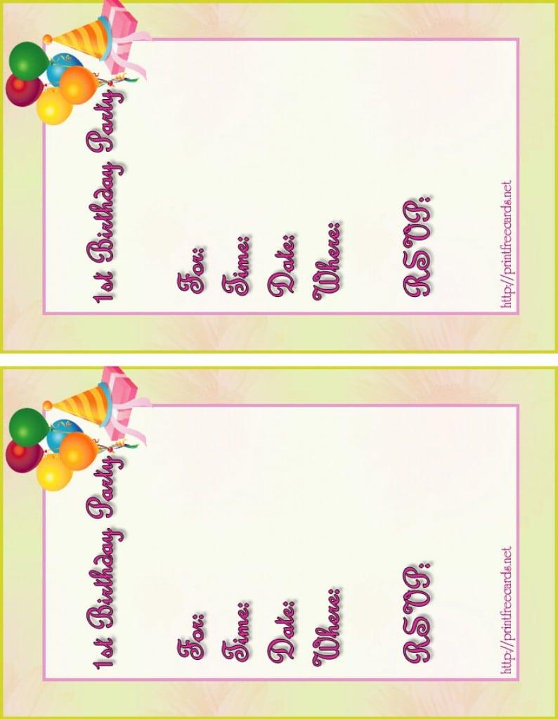 Birthday Invitations Cards Printable