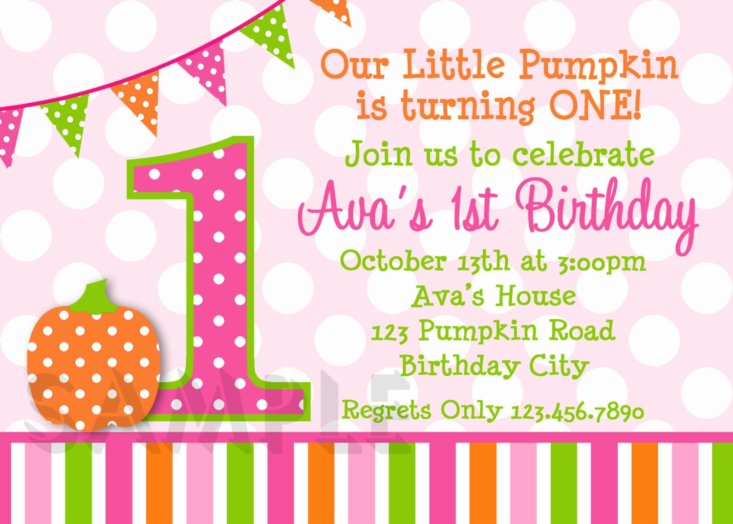 Birthday Invitations, Little Girls Pumpkin Party Invites, Printed