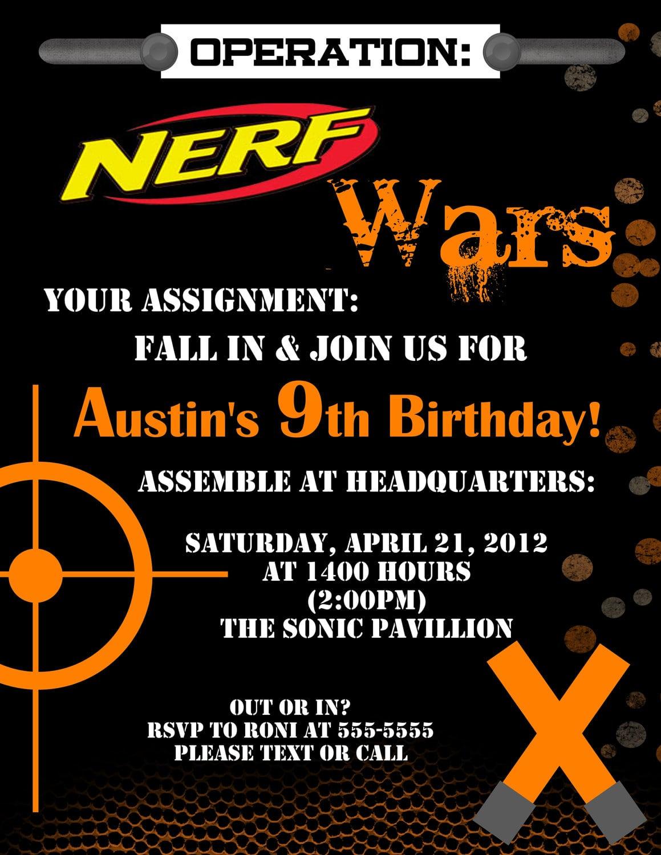 Birthday Invites  Chic Nerf Birthday Party Invitations Designs