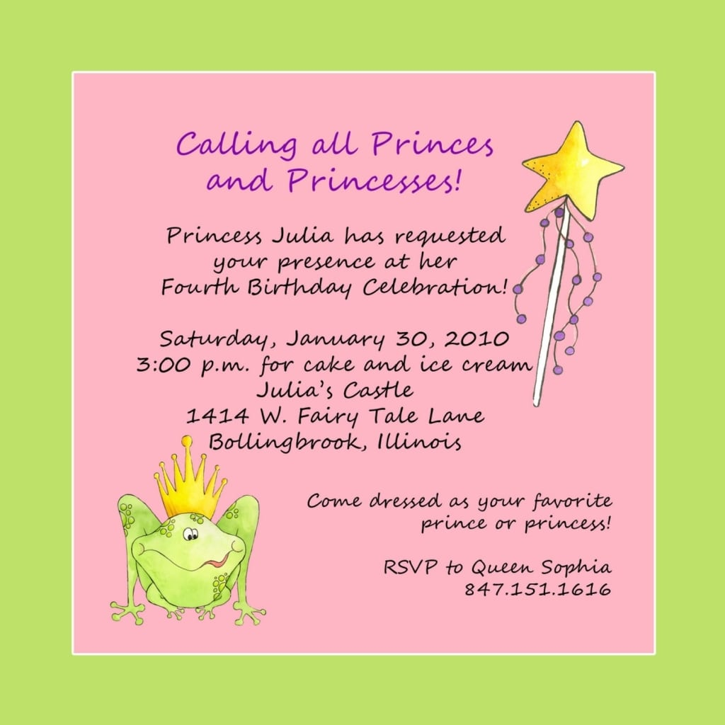 Birthday Party Message Invitation