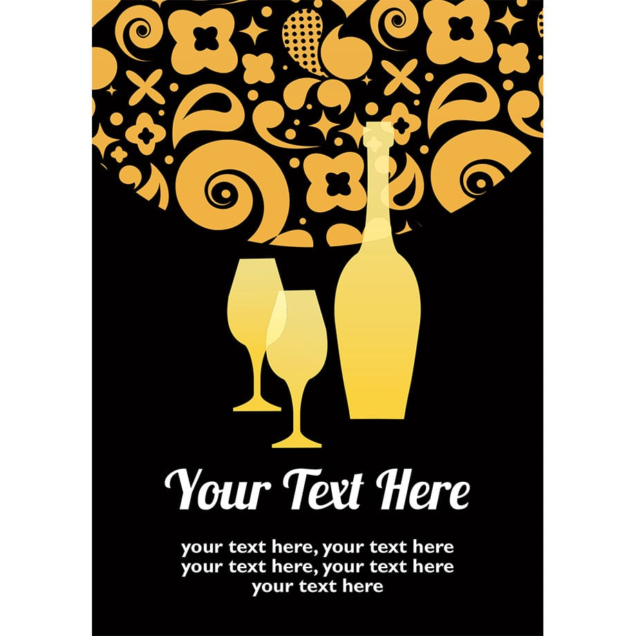 Black And Gold Drinks & Party Invite