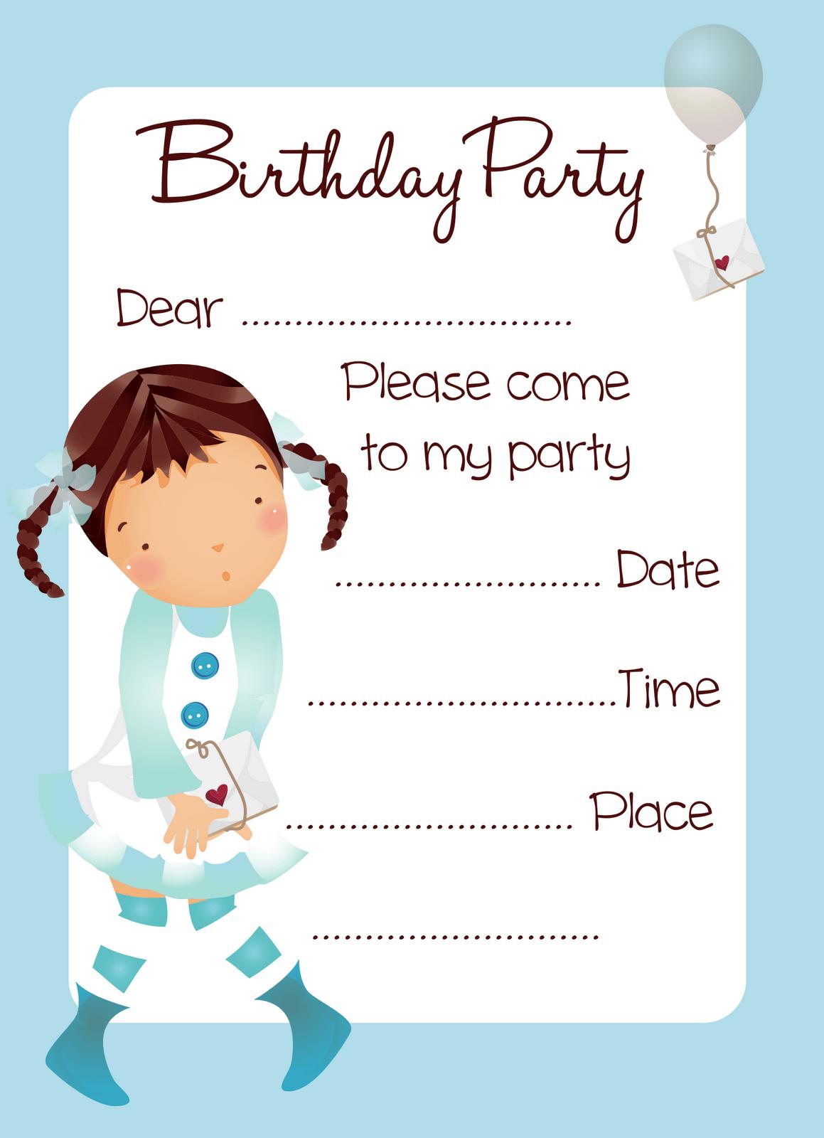 Blue Balloon Print Invitation Cards Girl Birthday Party Printable