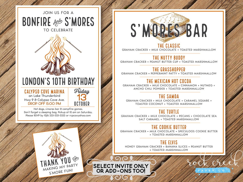 Bonfire Birthday Invitation, Bonfire & S'mores Party, Bonfire Tags