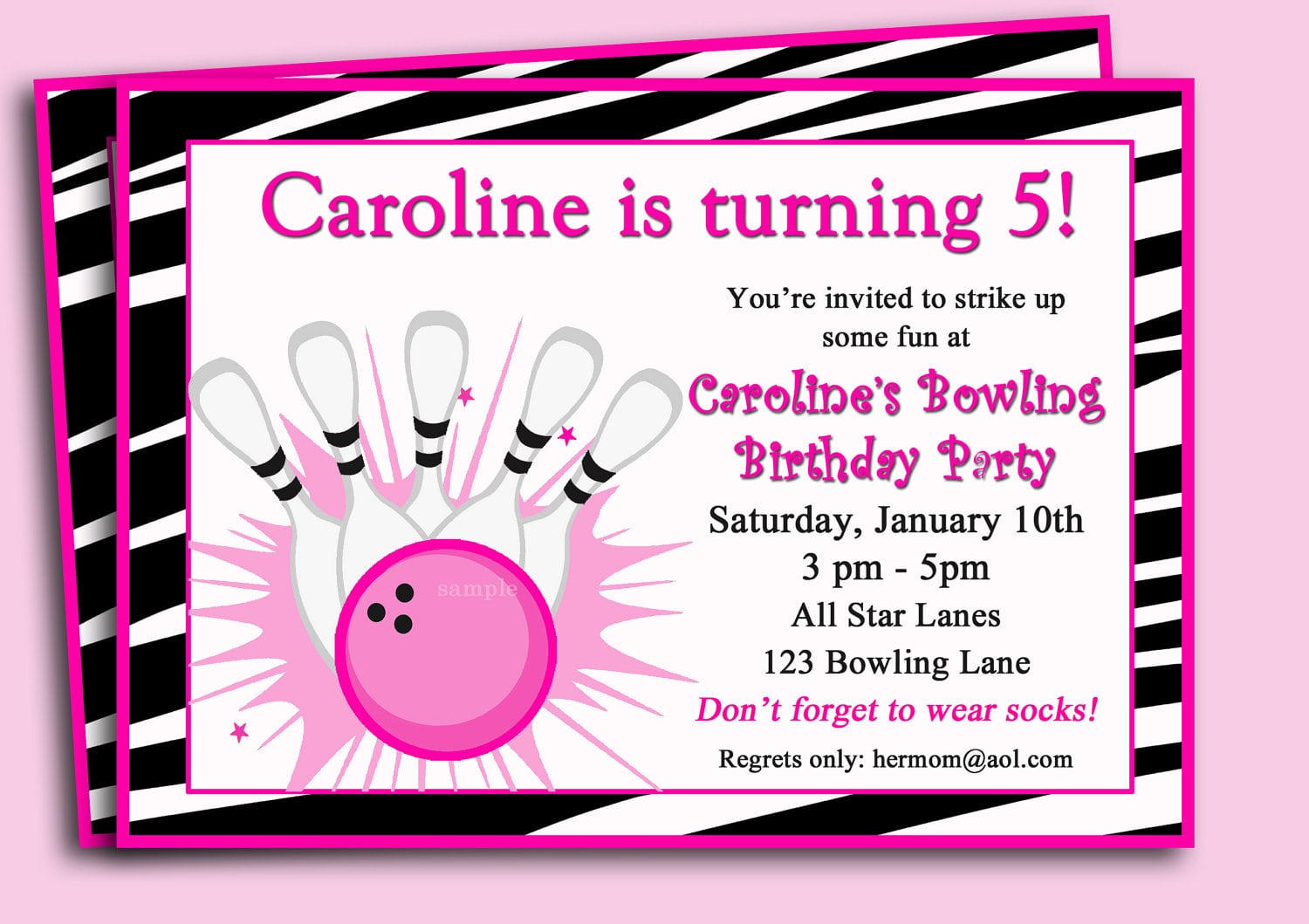 Bowling Invitation Printable Or Printed With Free Shipping
