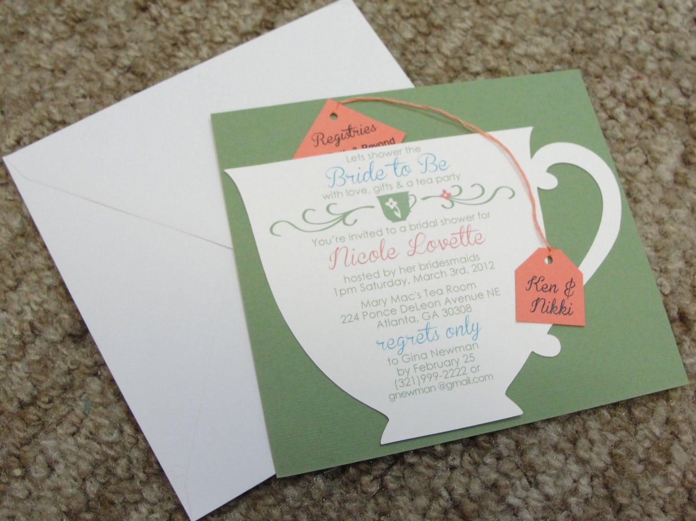 Bridal Shower Tea Party Cup Invitation
