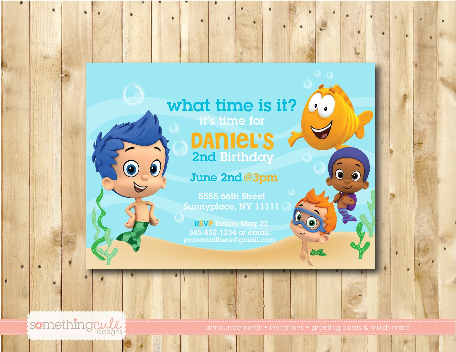 Bubble Guppies Birthday Party Invitations