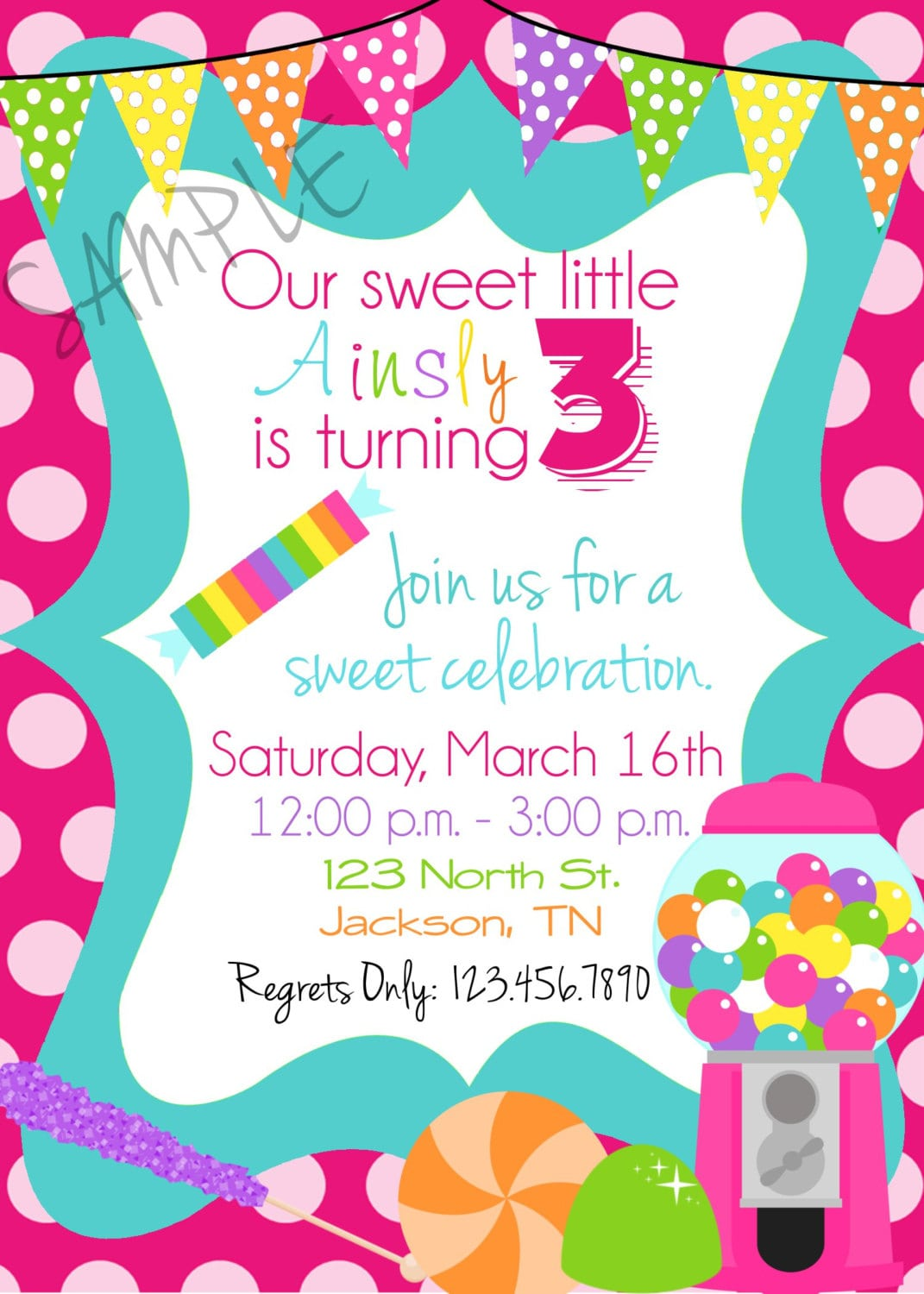 Candy Party Invitations Gallery