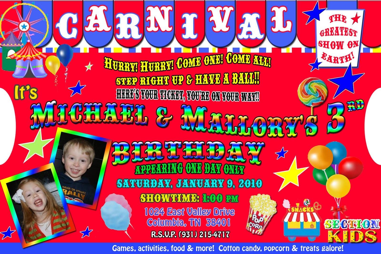 Carnival Theme Birthday Invitations