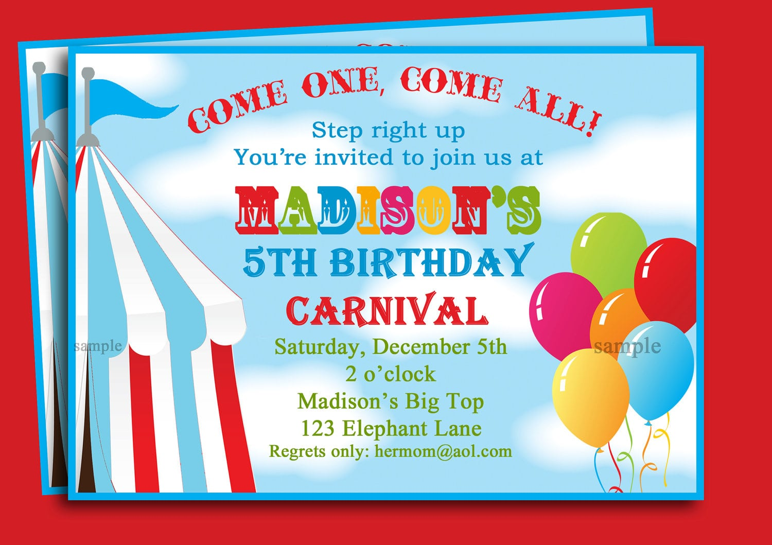 Carnival Themed Party Invitations