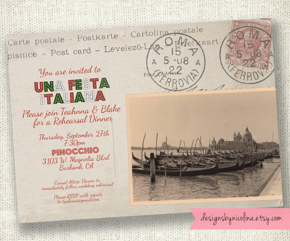 Cartolina Postale Vintage Italian Postcard Invitation