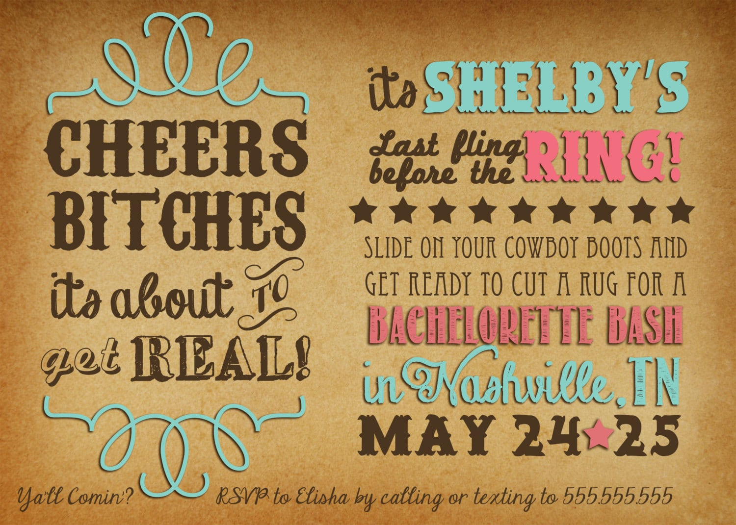 Cheers Bitches Western Bachelorette Party Invitation Digital