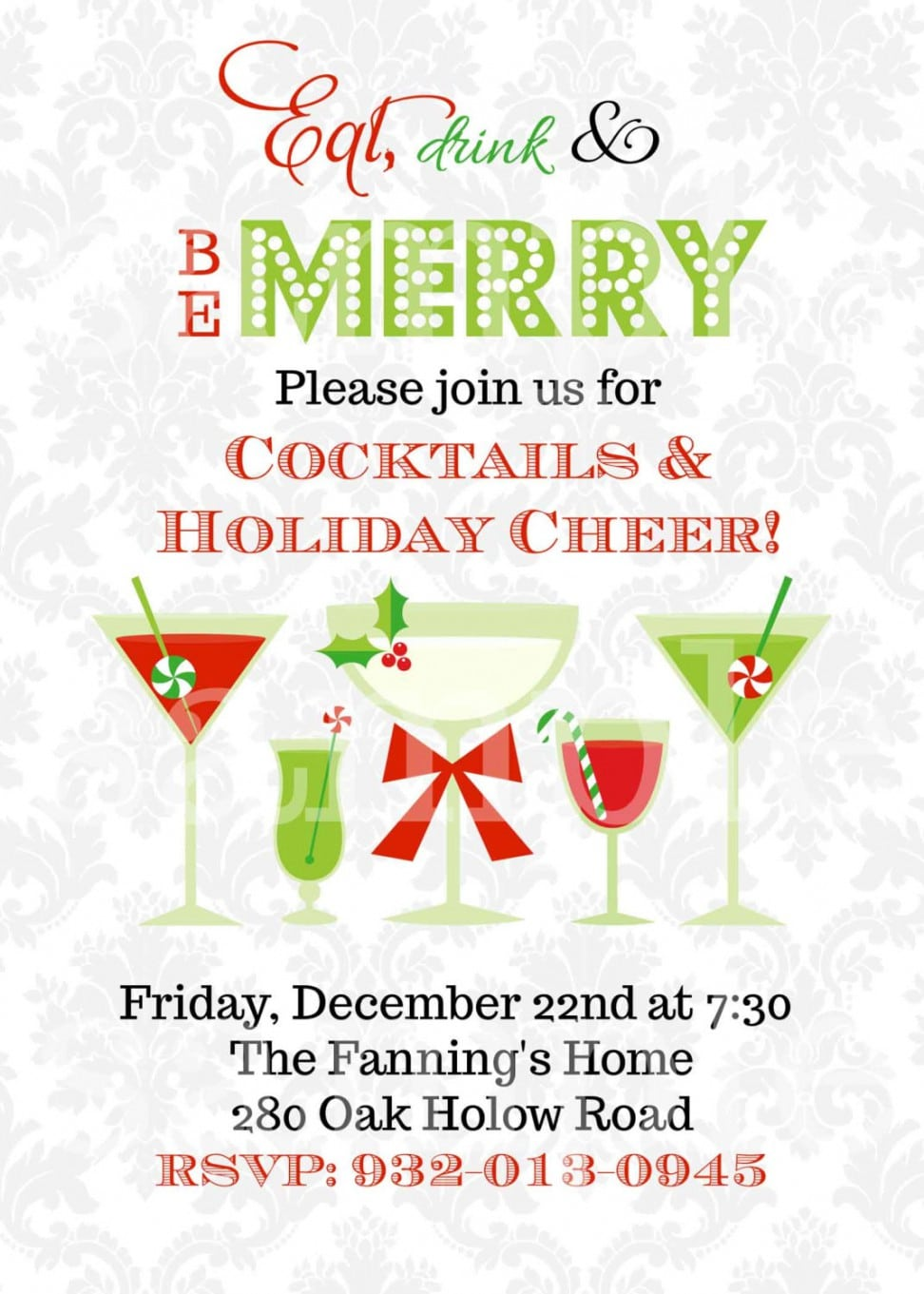Christmas Cocktail Party Invitations Christmas Cocktail Party