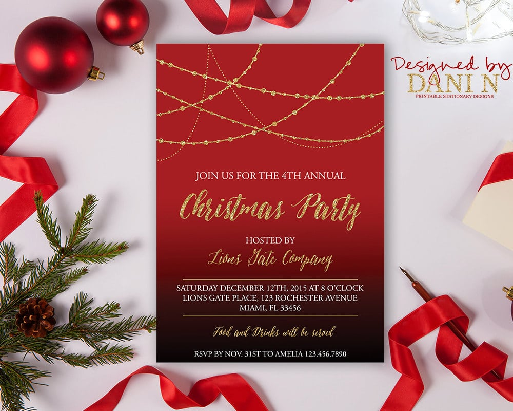Christmas Party Invitation Red Black Gold Holiday
