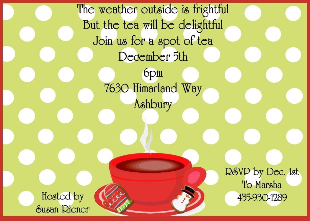 Christmas Tea Party Invitations 2017