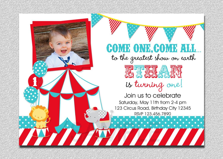 Circus Birthday Invitation 1st Birthday Circus Party
