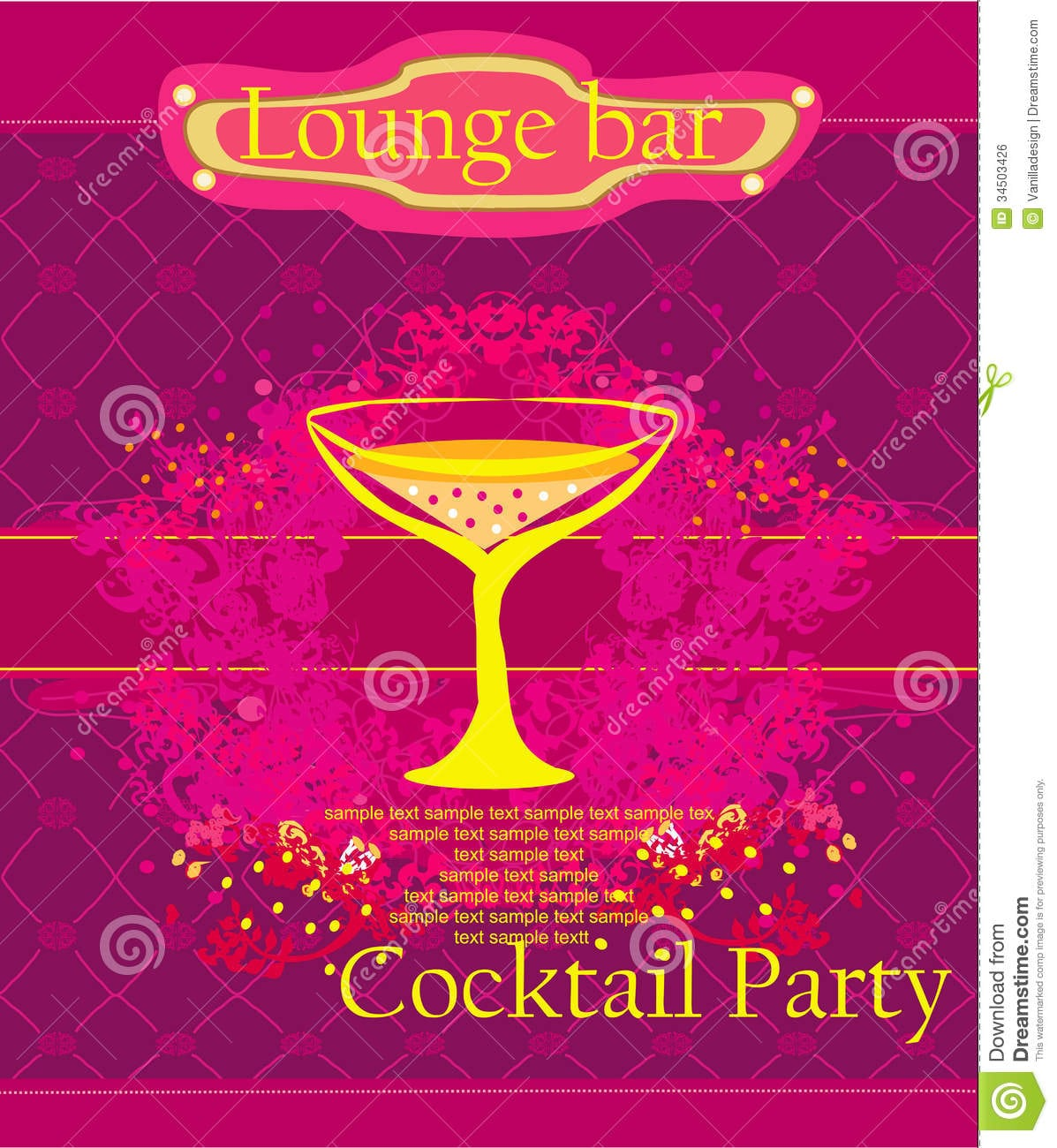 Cocktail Party Invitation Card Stock Illustration