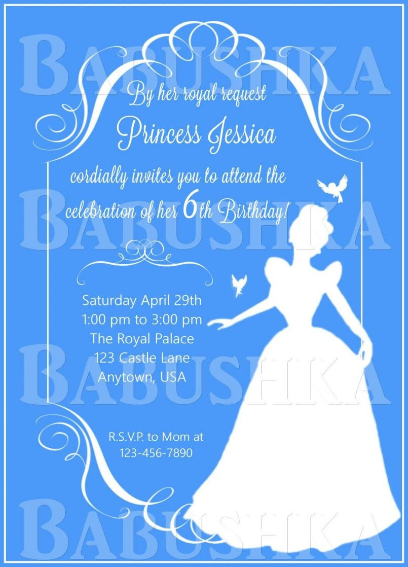 Colors   Free Cinderella Invitations Party City With Beautiful