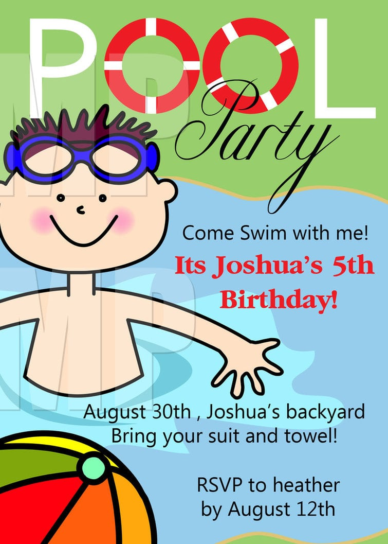 Colors   Lovely Birthday Pool Party Invitations Free Printable