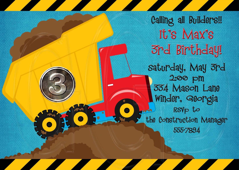 Construction Theme Birthday Party Invitation