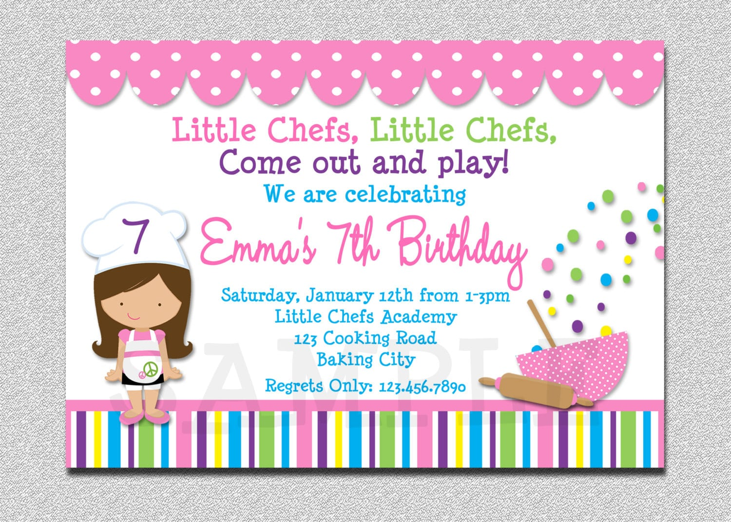 Cooking Birthday Party Invitation Cooking Baking Birthday