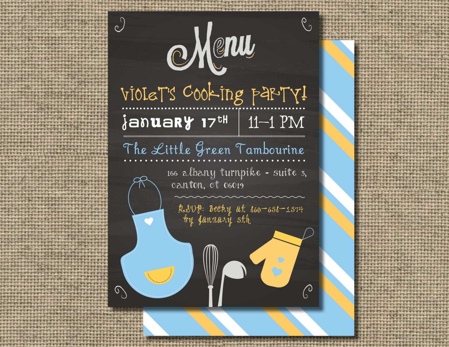 Cooking Party Invitation Kids Baking Party Children's