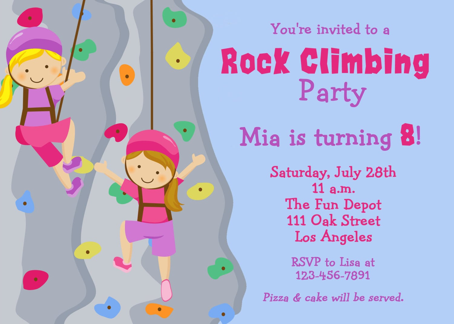 Cool Rock Climbing Birthday Party Invitations Download This