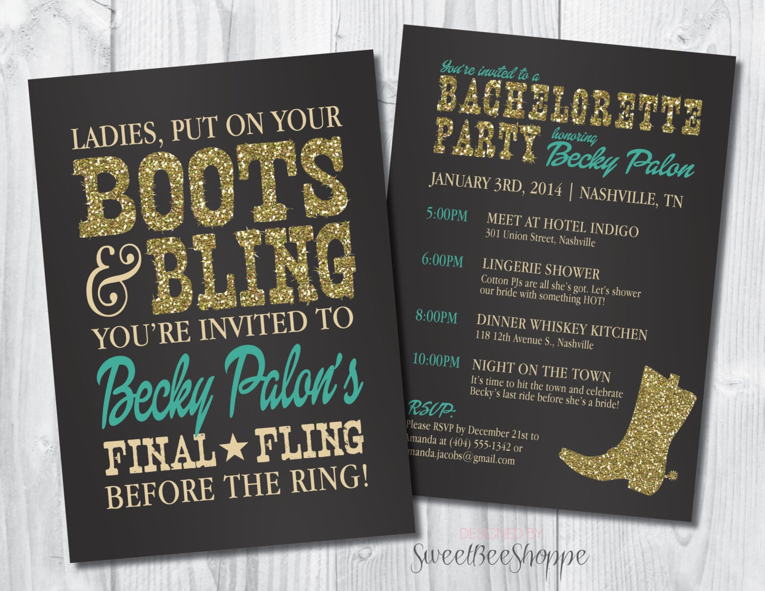 Country Western Bachelorette Party Invitation, Boots & Bling