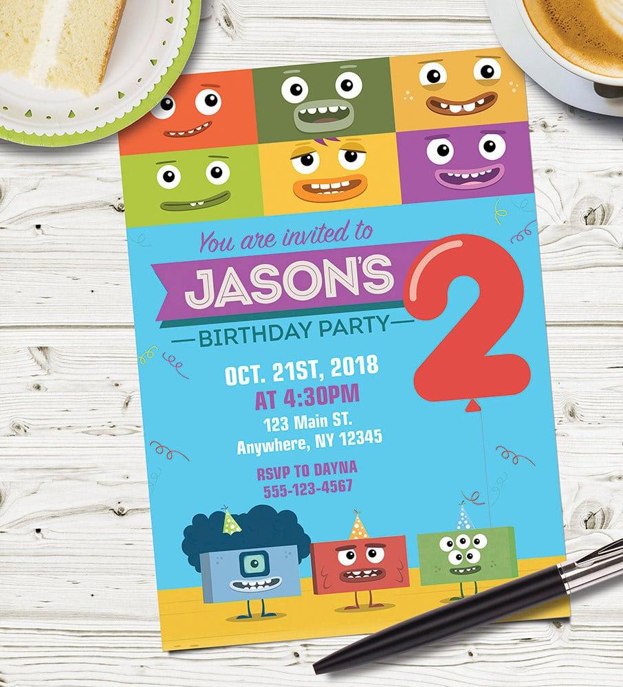 Custom Designed Big Block Singsong Party Invitation  Big Block
