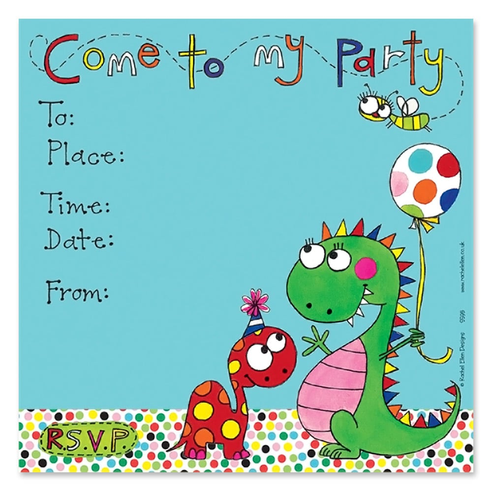 Cute Little Dinosaur Party Invitations