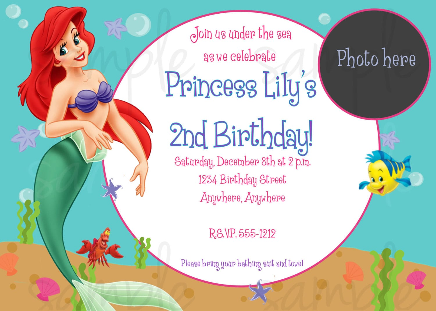 Design   Ariel Invitations For A Birthday Party With Princess