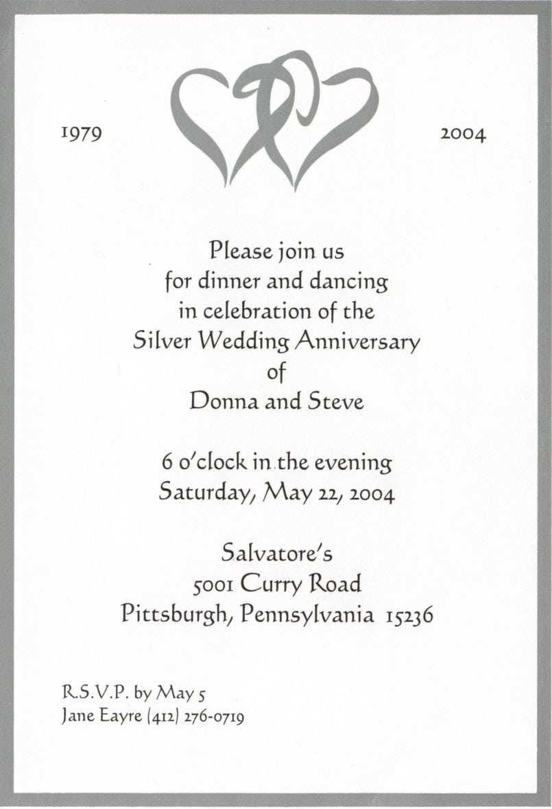 25th Anniversary Party Invitations