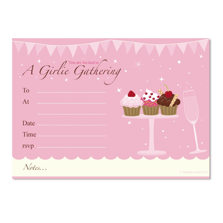 Digital Printable, Girlie Cupcake Generic Party Invitation £2 25