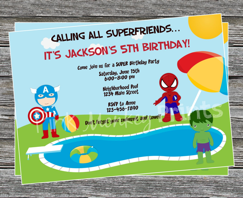 Diy Boy Superhero Pool Party Birthday Invitation