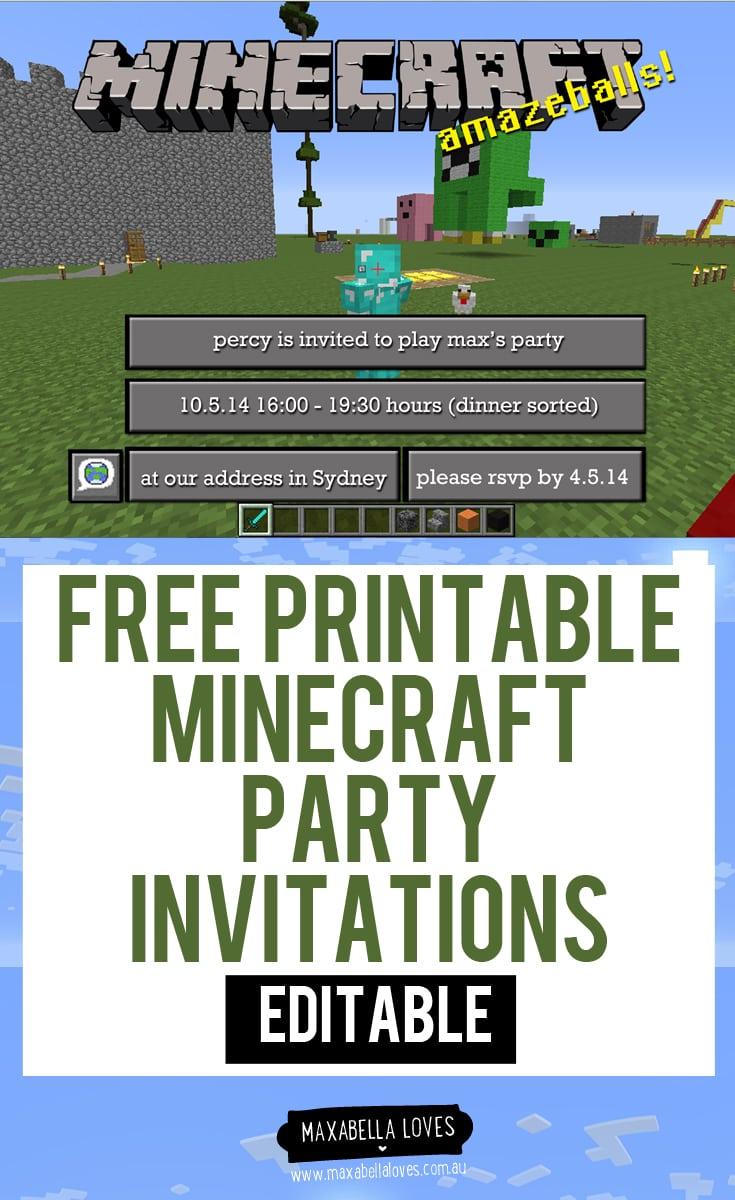 Diy Free Printable Minecraft Party Invitations