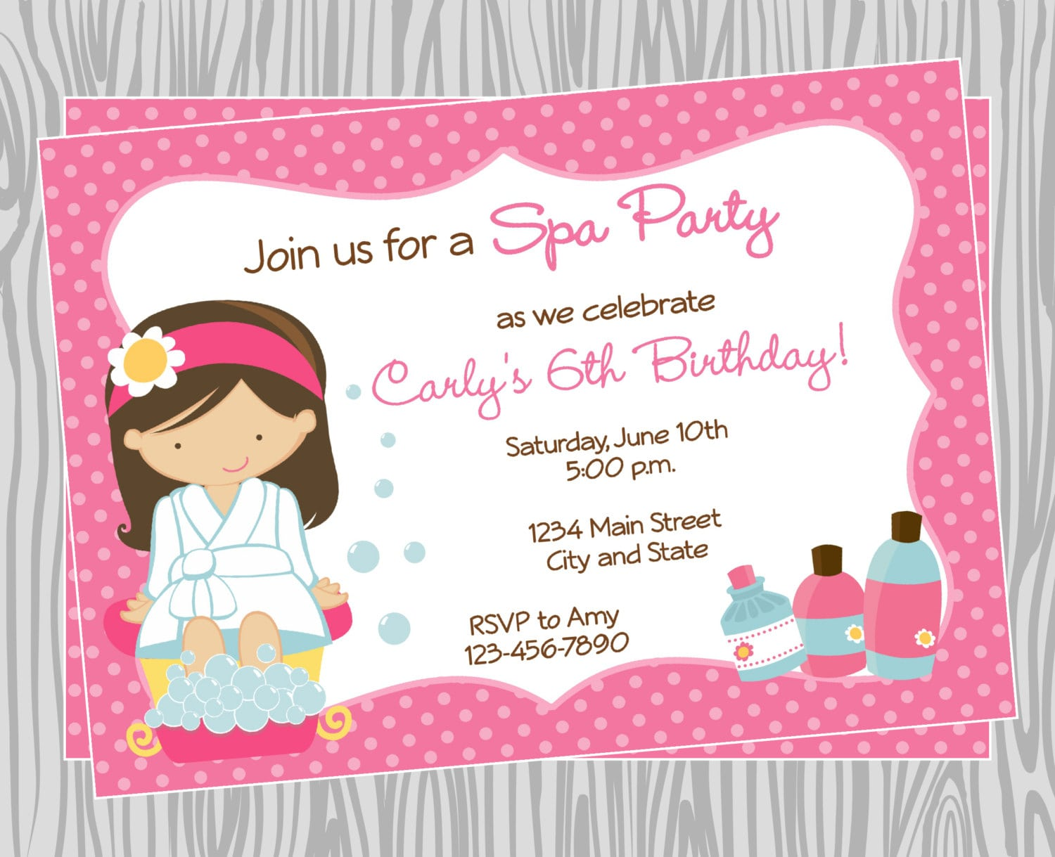 Diy Girl Spa Birthday Party Invitation 4 Coordinating Items