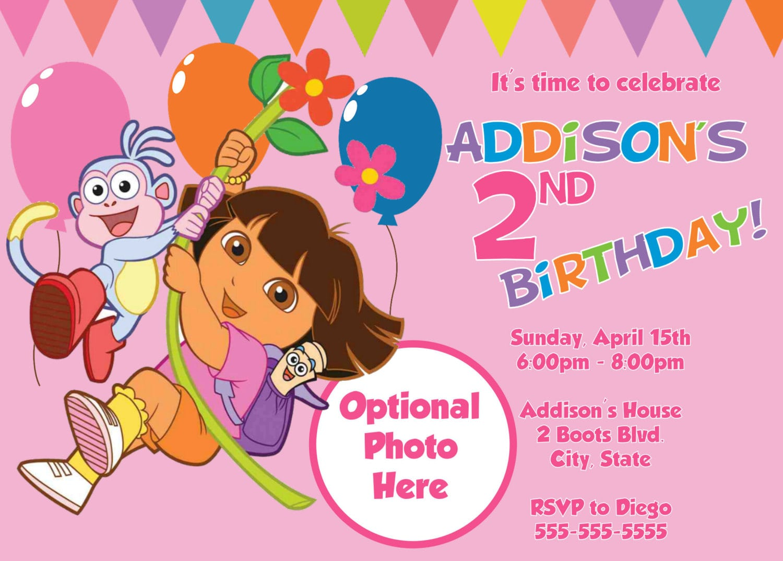 Dora The Explorer Birthday Invitations Template
