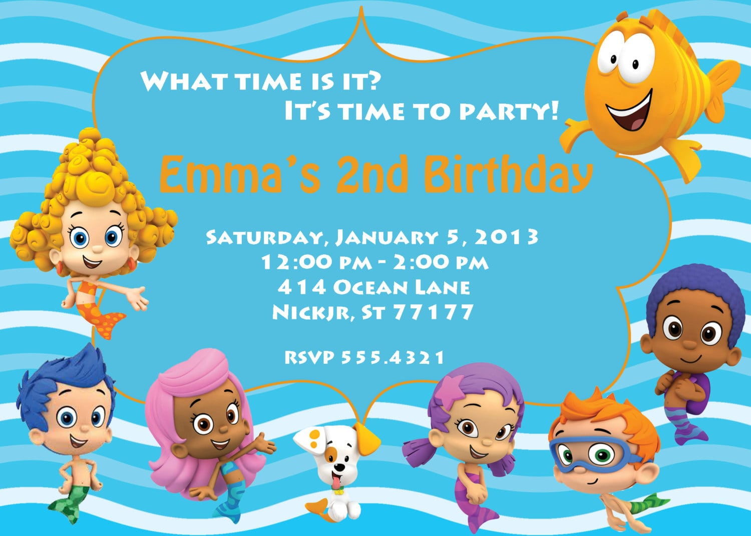 Download Now Free Template Bubble Guppies Birthday Party