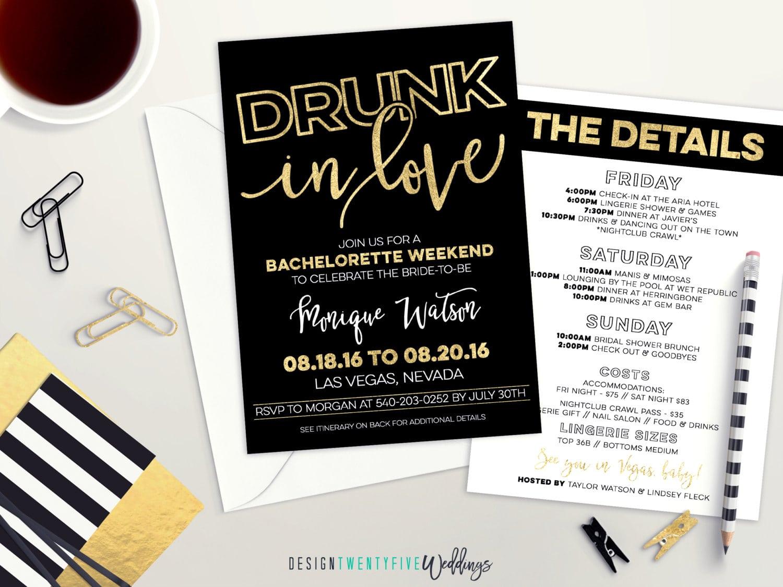 Drunk In Love Bachelorette Party Invitation Black & Gold