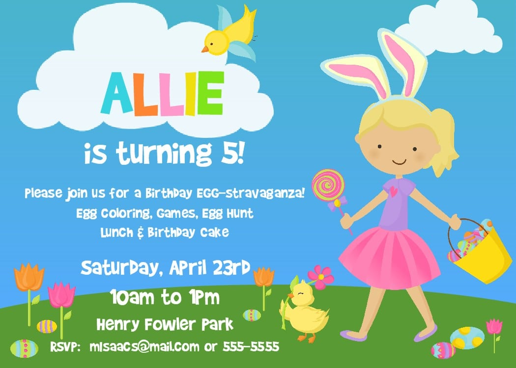 Easter Birthday Party Invitations