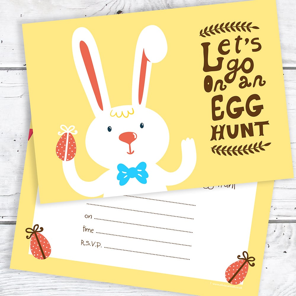 Easter Egg Hunt Postcard Invitations – Easter Bunny Party Invites