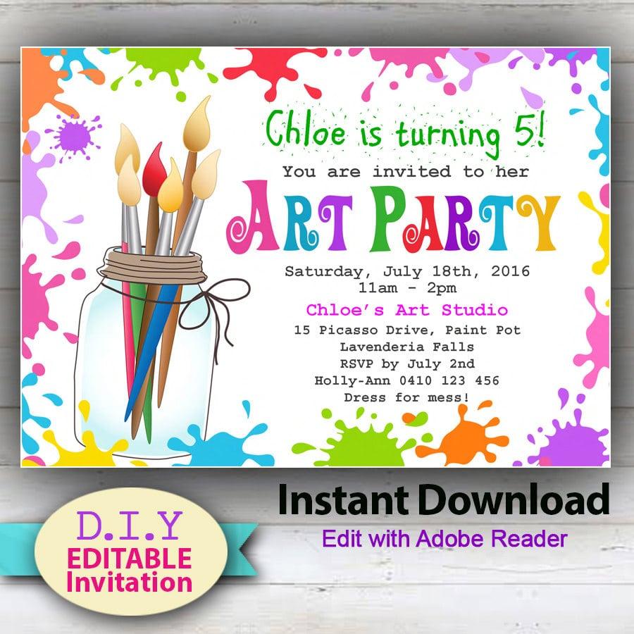 Editable Printable D I Y  Art Party Invitation