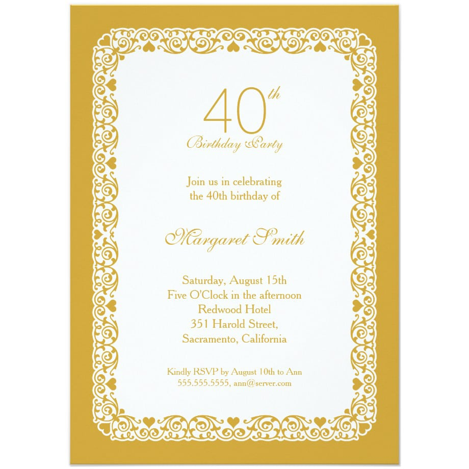 Elegant Personalized 40th Birthday Party Invitations