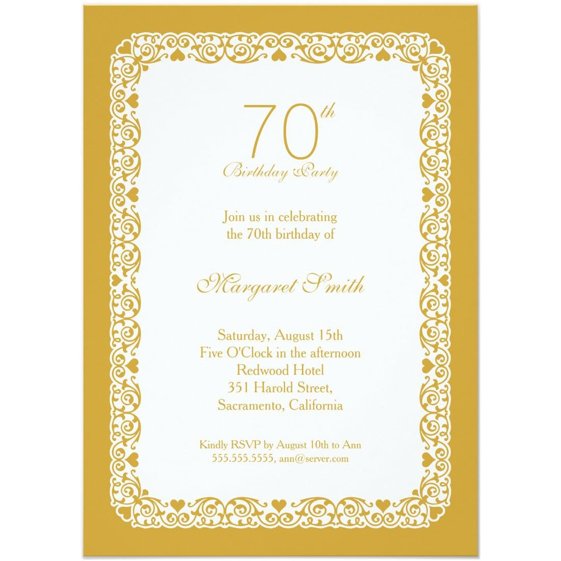 Elegant Personalized 70th Birthday Party Invitations