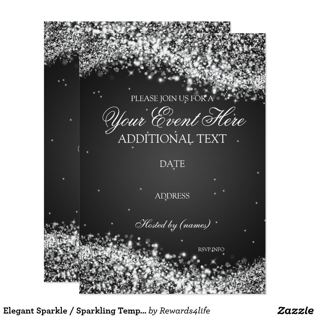 Elegant Sparkle   Sparkling Template Party Card