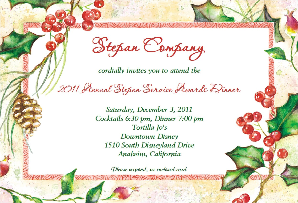 Example Of Christmas Invitations To A Party And Beautiful