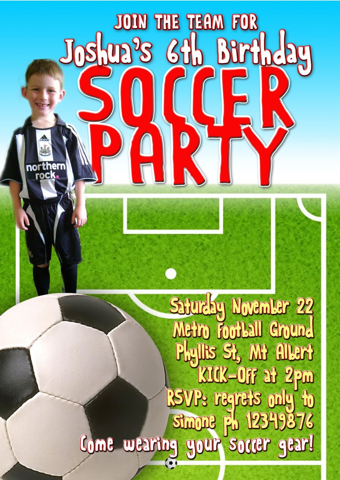Exclusive Soccer Birthday Party Invitations