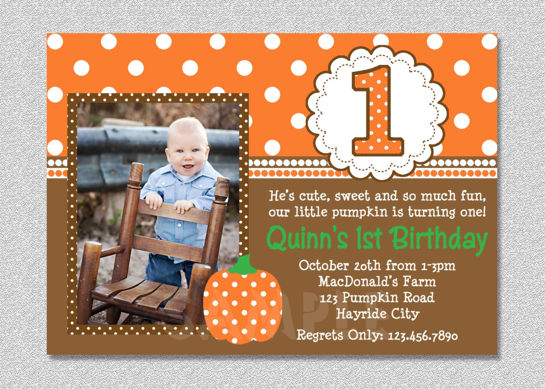 Fall Pumpkin Birthday Invitation Pumpkin 1st Birthday Party