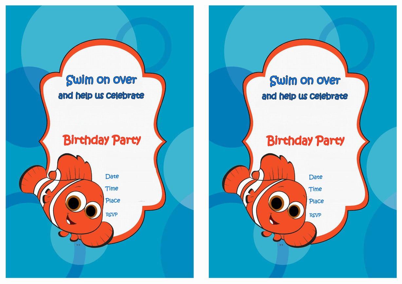 Finding Nemo Birthday Invitations Finding Nemo Birthday