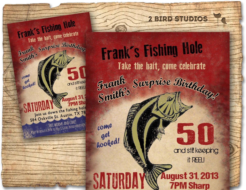 Fishing Birthday Party Invitation   Invite 30th 40th 50th