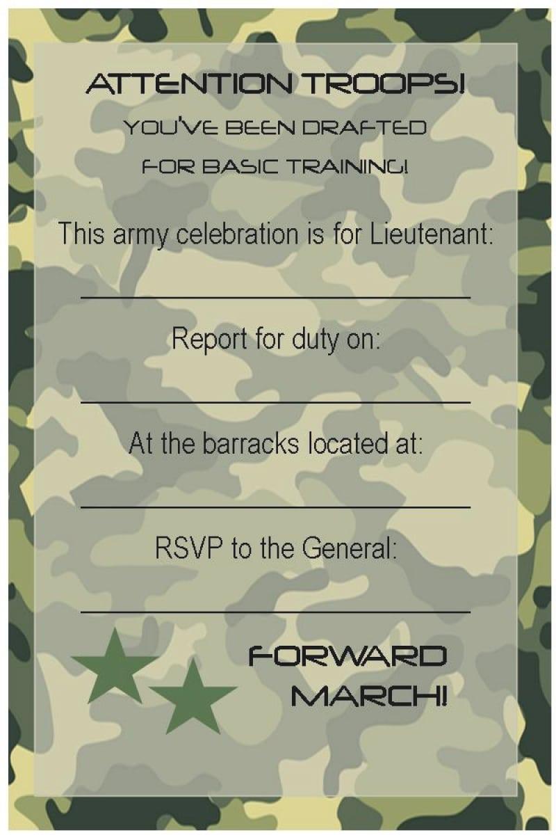Free Army Birthday Party Invitation Template – Orderecigsjuice Info